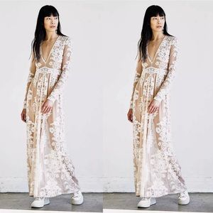 New Free People For Love & Lemons Temecula Maxi Sheer Embroidered Dress Size XS